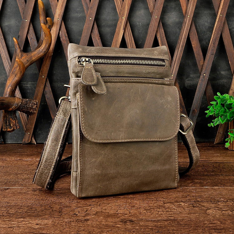 Le'aokuu Mens Genuine Leather Fanny Messenger Shoulder Satchel Waist Bag Pack (6553 Brown)