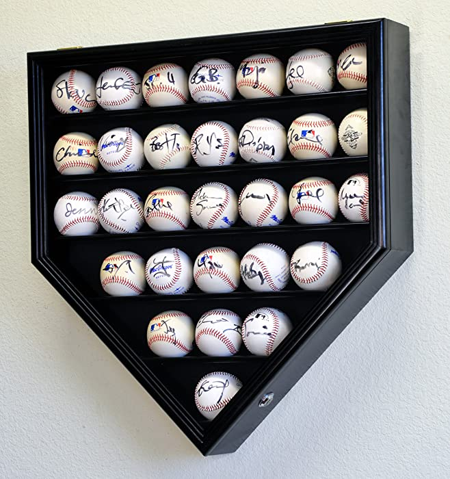 30 Baseball Ball Display Case Cabinet Holder Rack Home Plate Shaped w/98% UV Protection- Lockable -Black