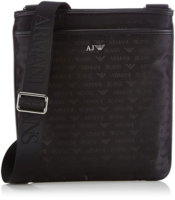 a14a3780f675 Armani AJ Men s Logo Detail Tablet Messenger Bag 06292V8 Black  Amazon.ca   Shoes   Handbags
