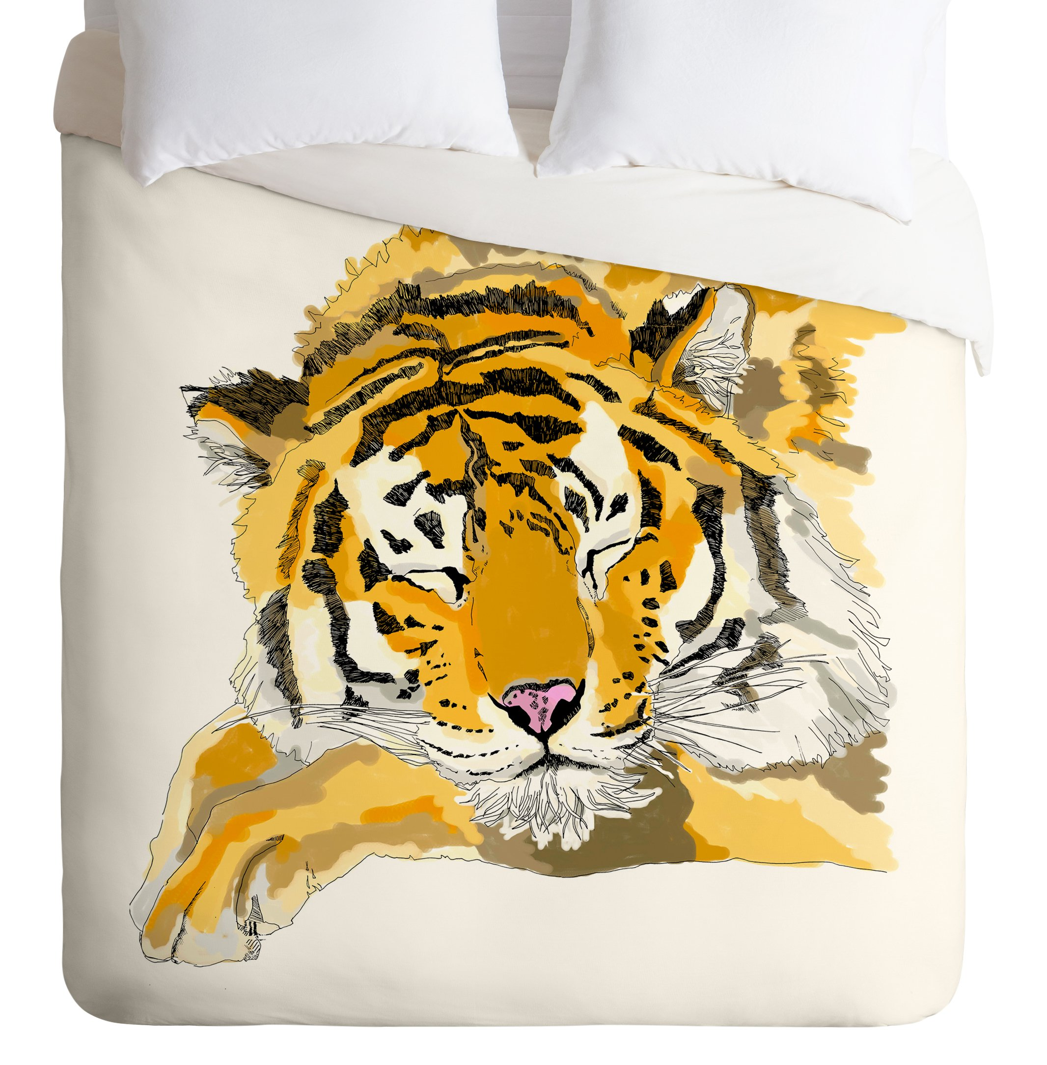 Deny Designs  Casey Rogers Sleepy Tiger Duvet Cover, Twin/Twin XL