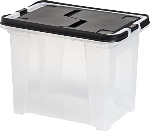 Set of 4 IRIS Letter Size Portable Hanging File Storage Box with Black Wing Lid