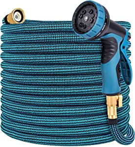Toolasin Expandable Garden Hose 50ft with 10 Function Spray Nozzle, Leakproof Flexible Water Hose Design with Solid Brass Connectors, Retractable Hose Expands 3 Times, Easy Storage and Usage