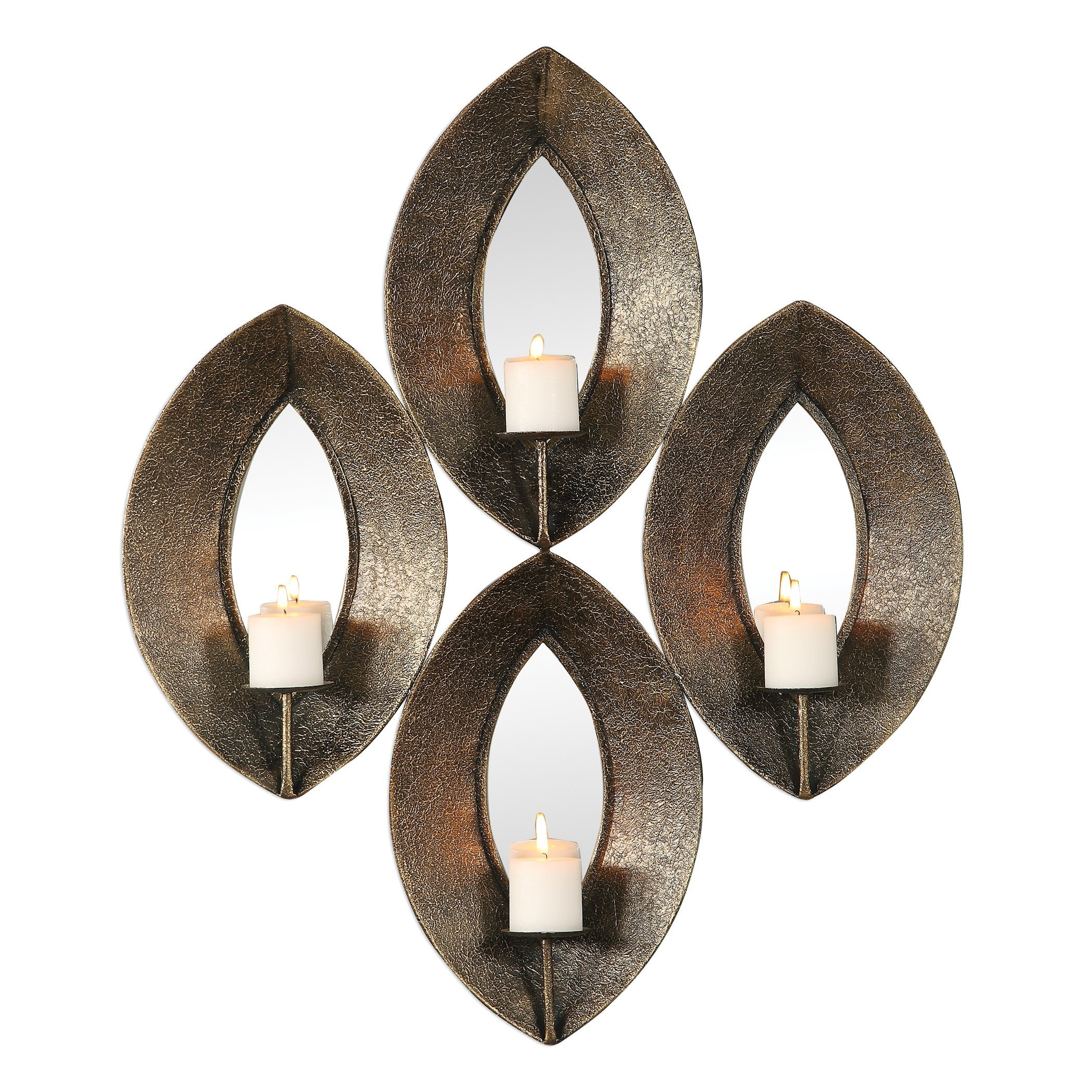 My Swanky Home Elegant Bronze Ovals Mirrored Wall Candle Sconce   Multi 4 Pilllar Mid Century