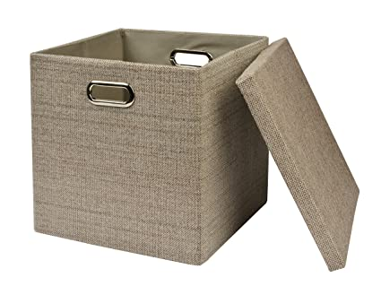 Bon Collapsible Storage Cubes Bins 13u0026quot;x13u0026quot;13u0026quot;, Foldable  Heavy Duty Burlap