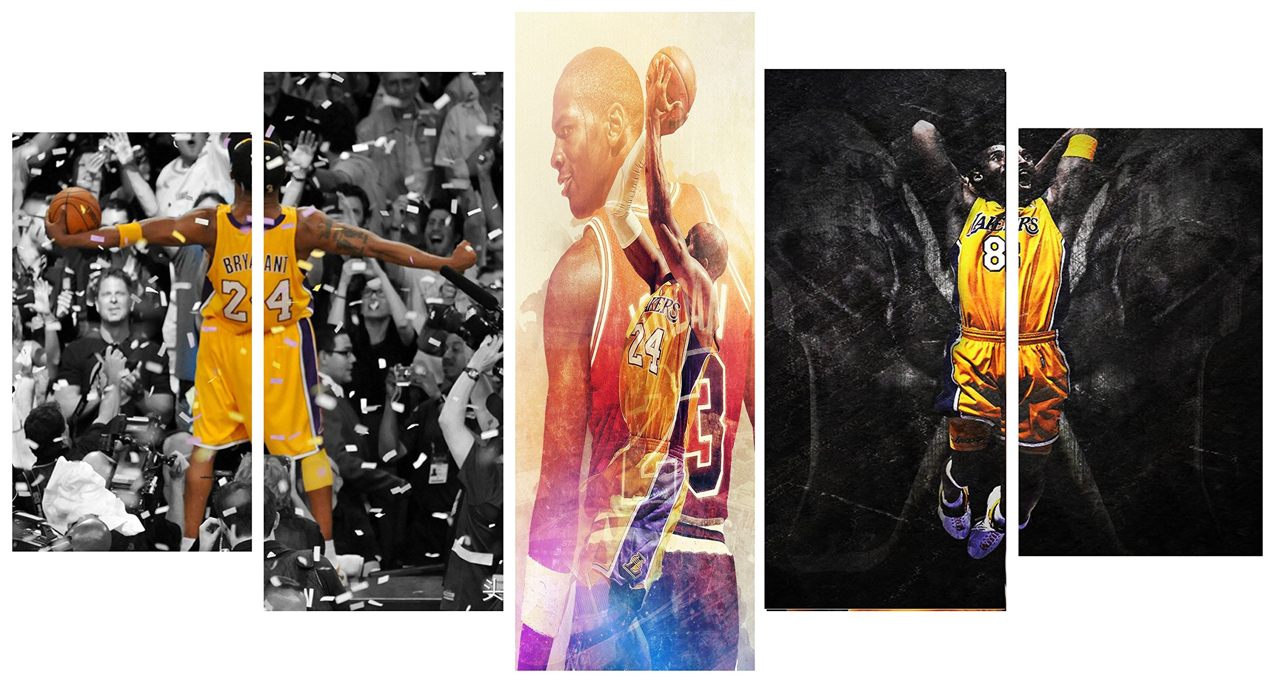 Kobe Bryant's Motivational/Inspirational Fighter Spirit Canvas Painting/Prints - 5 piece Canvas (20x35cm x 2, 20x45cm x 2, 20x55cm x 1)