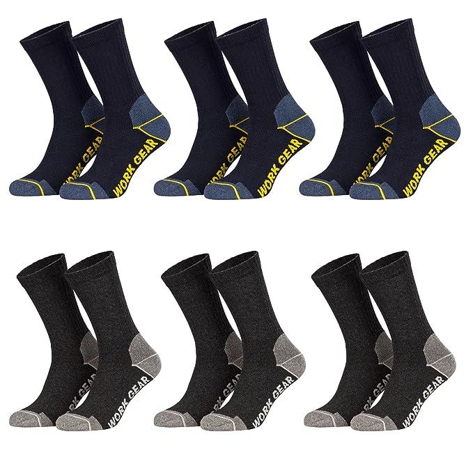 Piarini - 6 pares de calcetines para hombre - Para trabajo y tiempo libre - Gris y azul - 47-50: Amazon.es: Ropa y accesorios
