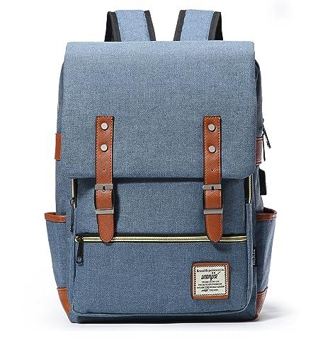 l'atteggiamento migliore 1d2c1 75ac7 HapiLeap Casuale Tela Zaini Vintage Zaino Uomo Donna Unisex Canvas Backpack  Trekking Viaggio Rucksack (Navy)