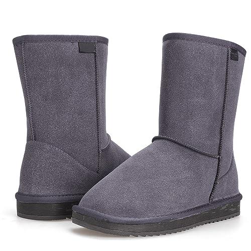64b0d9594e6 Aimado Zapatos Invierno Botas para la Nieve Calientes de Piel con Suela  Antideslizante para Mujer Invierno Rain Nieve Botas  Amazon.es  Zapatos y  ...