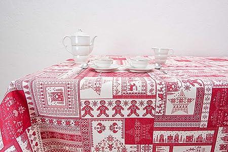 Boheme ORNAMAYO Mantel Navidad, ALGODÓN /50% POLIÉSTER, Rojo, 140 x 350: Amazon.es: Hogar
