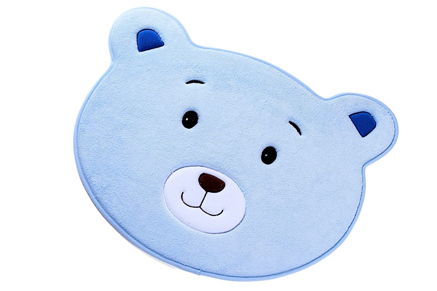 Small Bath Mat Accent Rug For Home Kitchen Toy Room or Nursery | Non-Slip Line Dry Washable | Colorful Animal Designs Delight Toddlers Babies Children and Adults (Light Blue 29 x 20 x 0.25 inches) bozemanbabycompany SYNCHKG107639