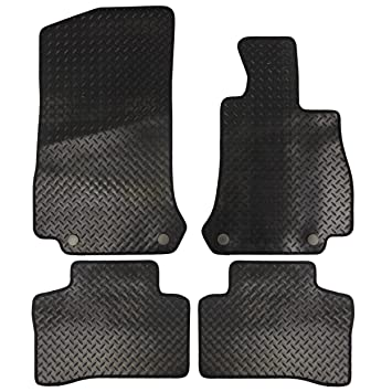 4 Pieces Black Fully Tailored Rubber Car Mats with 4 Clips