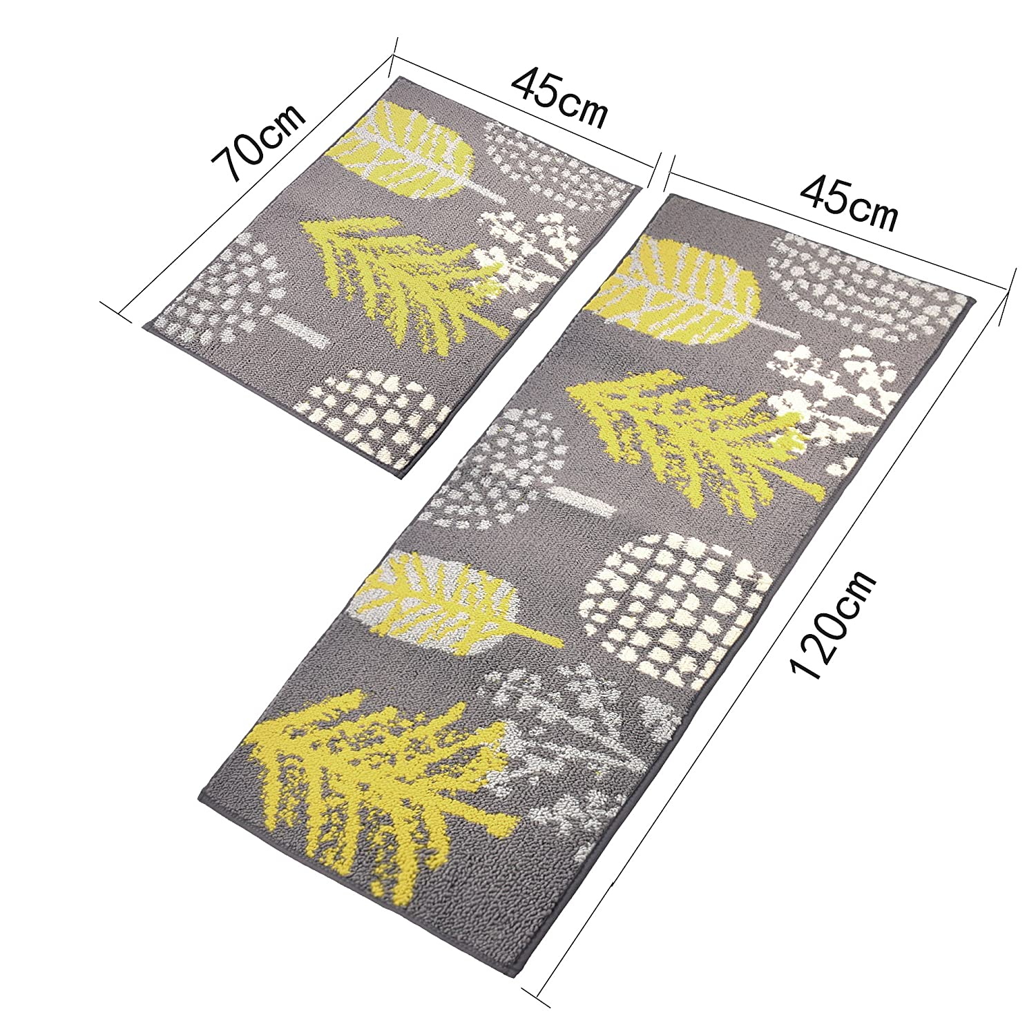 18/×27+18/×47 Inch Homcomoda 2 Piece Kitchen Rugs Runnners Non-Slip Rubber Backing Kitchen Mats and Rugs Sets Floral Doormats Machine Washable