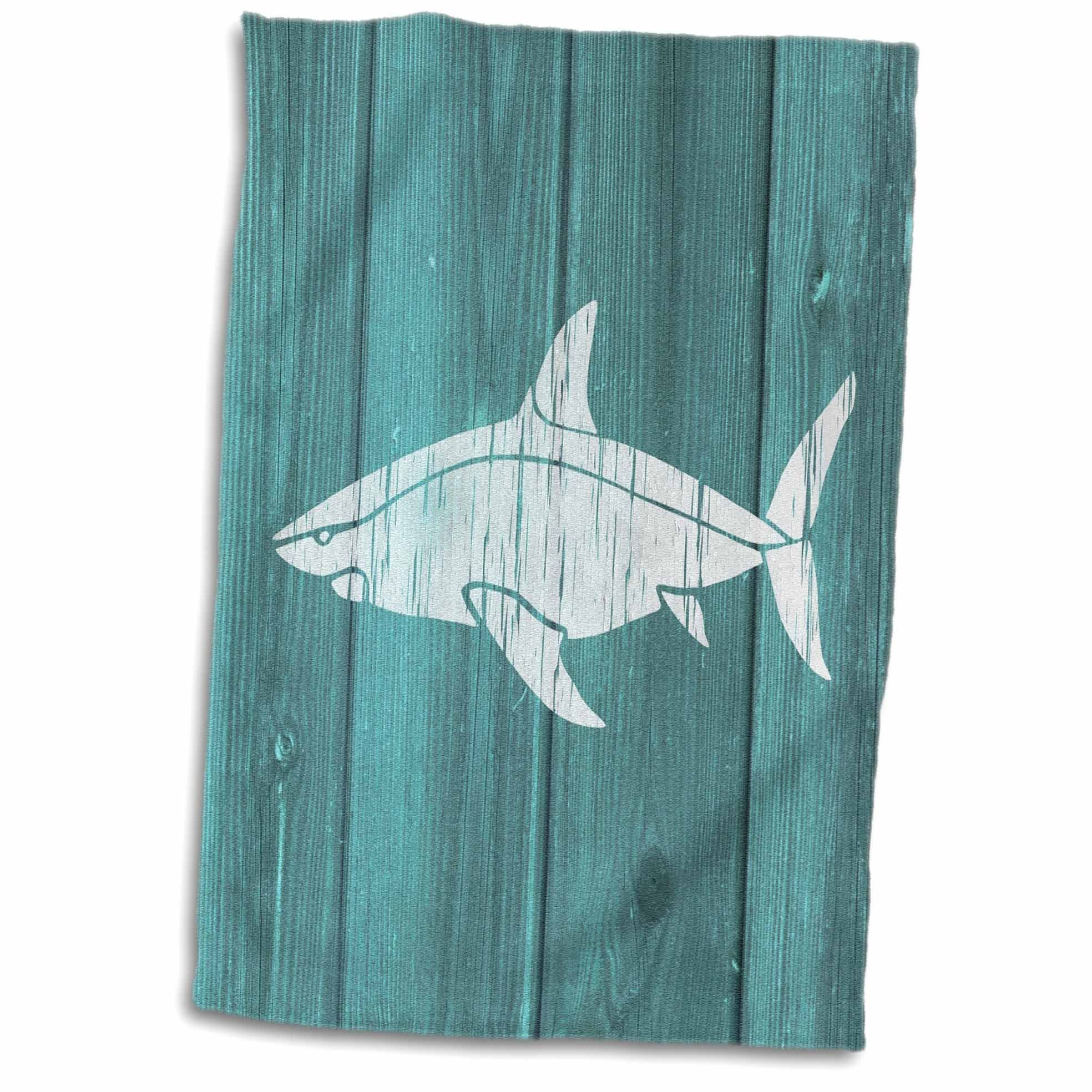 3D Rose Photo of White Shark On Blue Effect-Not Real Wood Hand Towel, 15'' x 22'', Multicolor
