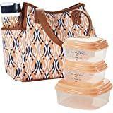 Fit & Fresh Ladies' Westerly Insulated Lunch Bag Set with Reusable Containers and 20 oz. Matching Water Bottle, Zipper Closure, Pocket (Peach Teardrop Waves)