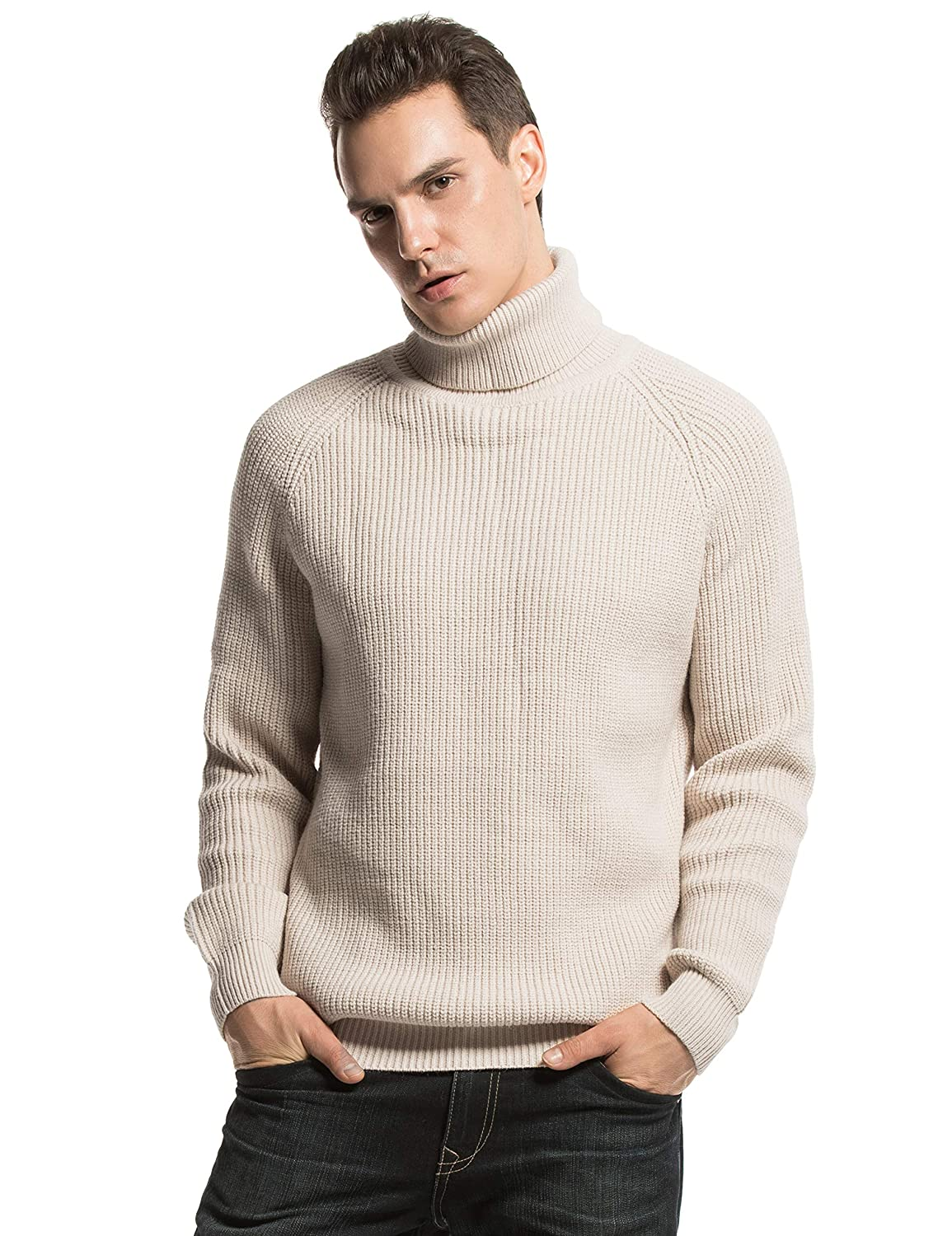 b609903b0a8a PrettyGuide Men s Turtleneck Sweater Ribbed Cable Knit Pullover Sweater  Tops at Amazon Men s Clothing store