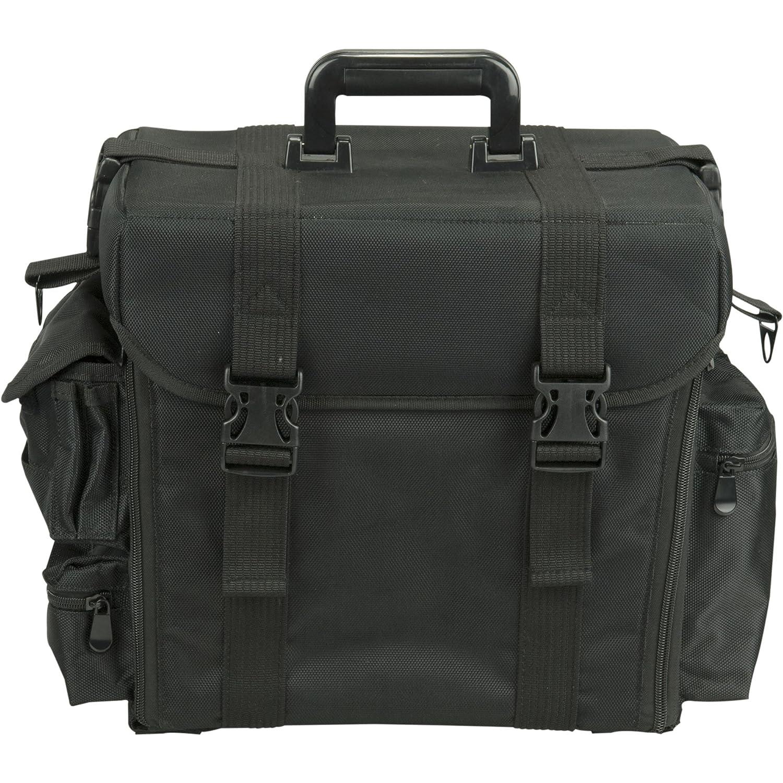 Hiker HK3601 Makeup Case Pro Carry On Soft Sided 6 Removable Trays Brush Holder 4 Pockets Shoulder, Nylon Black HK3601NLAB