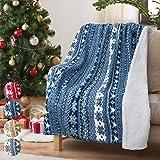 圣诞抱被羊绒毛毯 127 cm x 152.4 cm 雪花图案,超柔软蓬松沙尔巴图案电视毯装饰毛毯床沙发假日 蓝色雪花 50 x 60 英寸 1TRBF390BL-TBCB