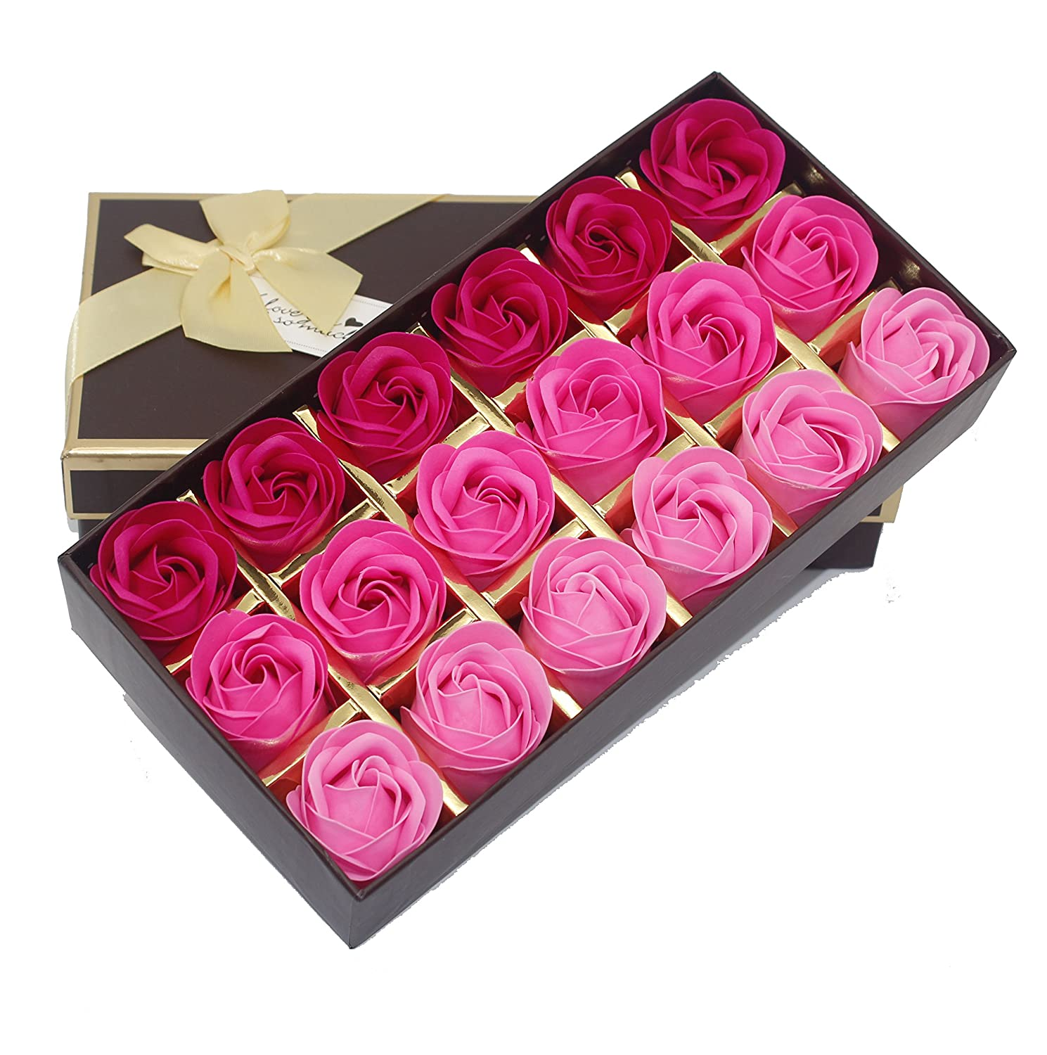 Bath Soap Rose Flower Floral Scented Soap Rose Petals Body Soap in Gift Box for Valentine's Day Anniversary Mother's Day Birthday (18 Pcs/Box Gradient Pink) Little World