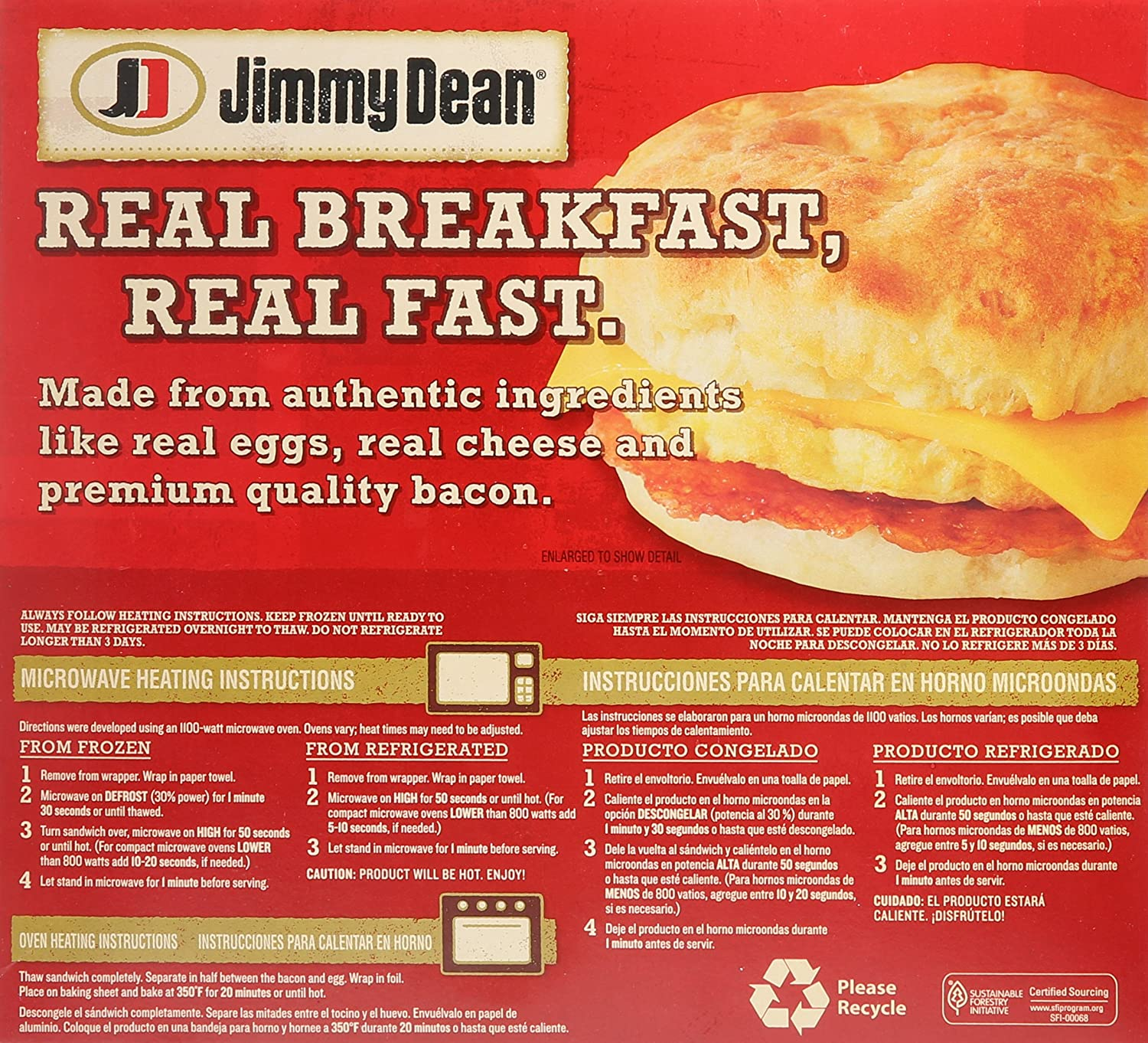 Jimmy Dean, Bacon, Egg & Cheese Biscuit Sandwiches, 4 Count (Frozen): Amazon.com: Grocery & Gourmet Food