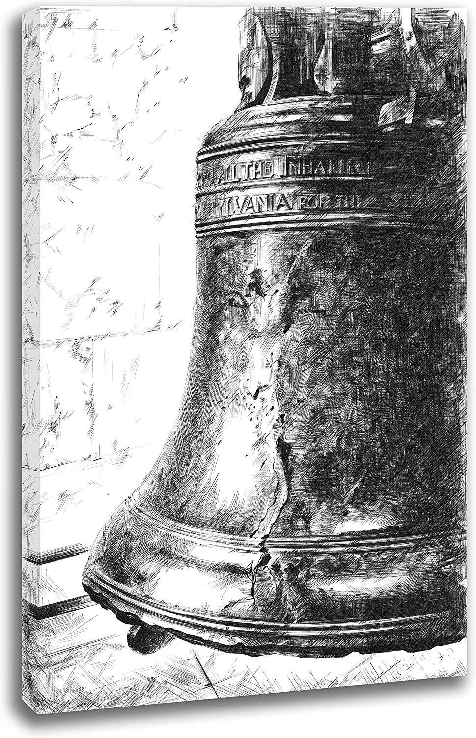 INTALENCE ART Unique Liberty Bell Philadelphia Black and White Wall Decor, 8x12in American Symbol Wall Art, Premium Print on Canvas, Modern Home and Office Picture Decoration, Easy and Ready to Hang.