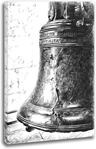 INTALENCE ART Unique Liberty Bell Philadelphia Black and White Wall Decor