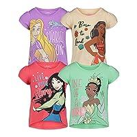 Princess Mulan Rapunzel Moana Tiana Toddler Girls 4 Pack T-Shirt 5T