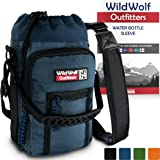 Wild Wolf Outfitters - #1 Best Water Bottle Holder for 64 oz Bottles - Carry, Protect and Insulate Your Flask with This Military Grade Carrier w/ 2 Pockets and an Adjustable Padded Shoulder Strap.
