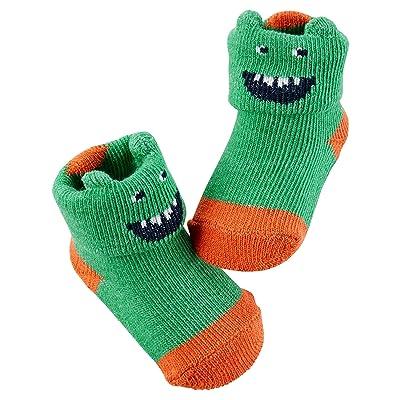 Carter's Boy's Monster Booties; Green and Orange (Newborn)