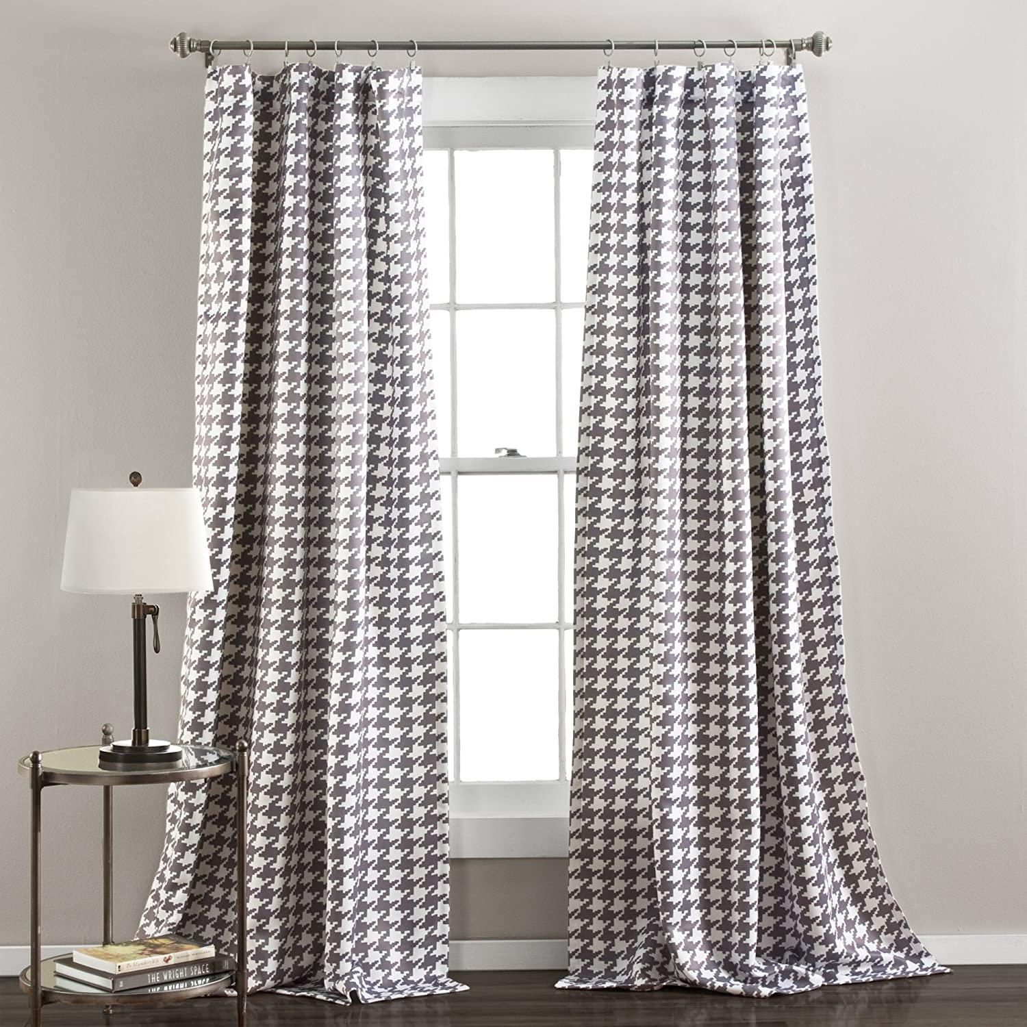 Amazon Lush Decor Houndstooth Window Curtain Panel Set Of 2 84 X 50 Inches Gray Home Kitchen