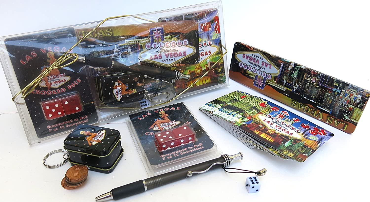 Las Vegas Souvenir Box Gift Set deck of Cards Crooked Dice Elegant Dice Pen Key Chain with Ten Shinny Pennies Set of Five