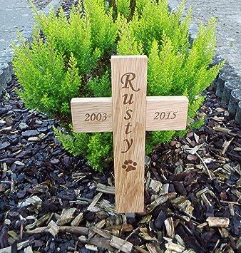 Kleines Grabkreuz Für Tiere Mit Gravur Und Erdspieß Amazonde