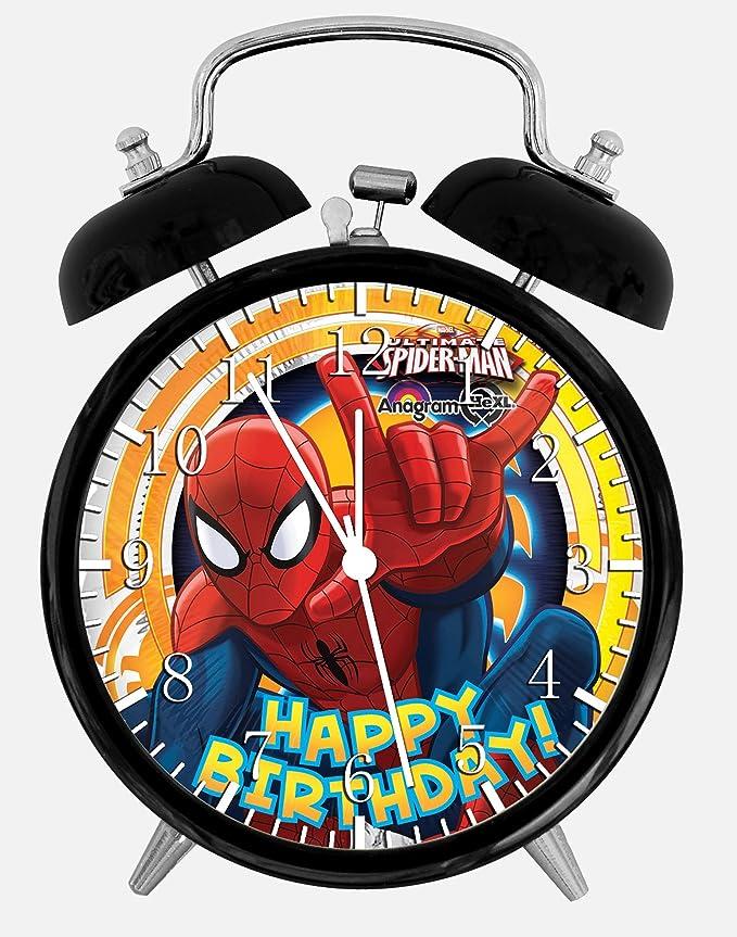 Spiderman Tarjeta de cumpleaños alarma reloj de mesa 3.75 ...