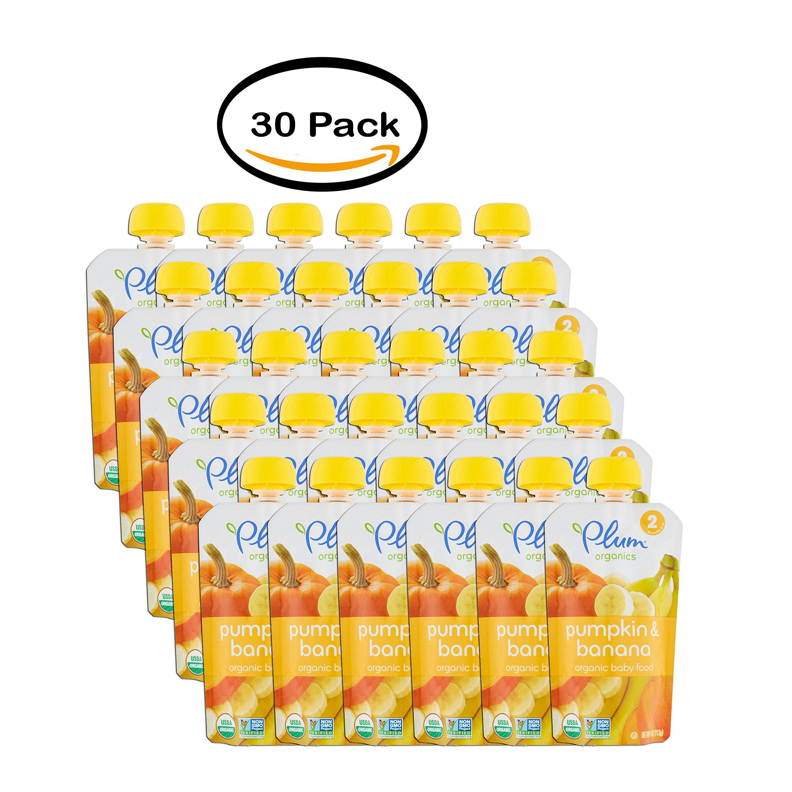 PACK OF 30 - Plum Organics Pumpkin & Banana Organic Baby Food 2 6 Months & Up 4oz