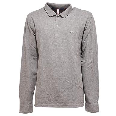 SUN 68 6538U Polo uomo Maglia Grigio Long Sleeve Grey Polo t-Shirt ...