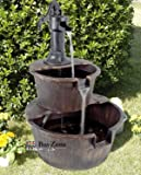 2 Tier Garden Barrel Pump Fountain Water Feature Cascade Outdoor Patio Deck