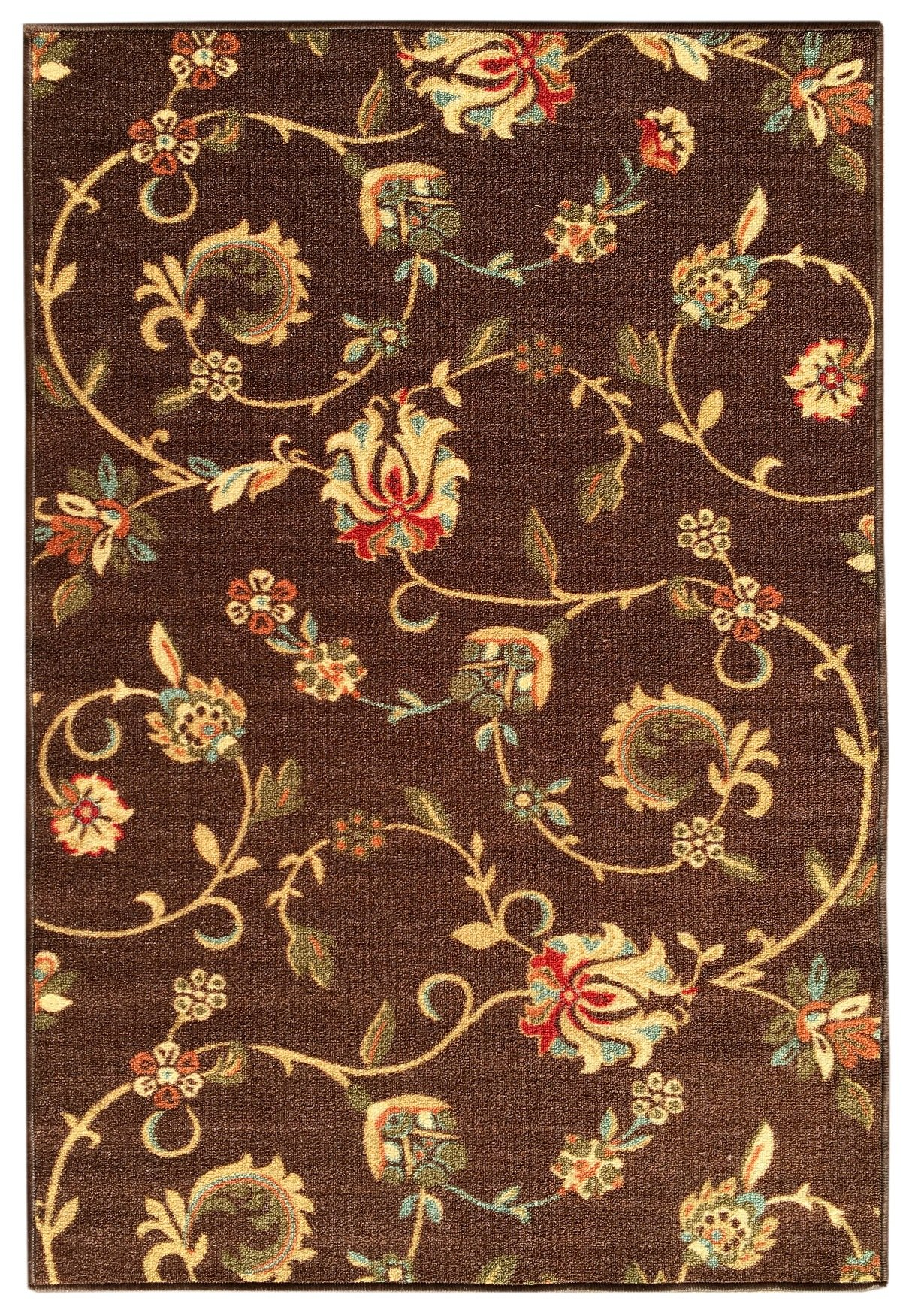 Kapaqua Rubber Backed 3'4'' x 5' BROWN Floral Area Rug Non-Slip - Living, Dining, Room, Pet & Kitchen Rug by Kapaqua