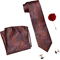 COCO CHANEL Men's Silk Stain Resistant Necktie, Pocket Square, Lapel Pin Cufflinks Set (Red)