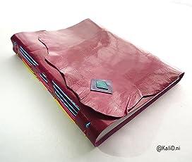 Kati Deni Cuaderno de piel Magenta Costura multicolor