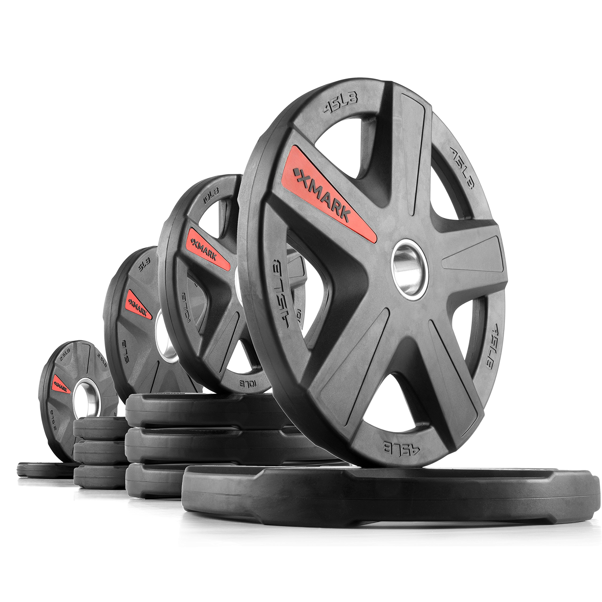 XMark Texas Star 155 lb Set Olympic Plates, Patented Design, One-Year Warranty, Olympic Weight Plates