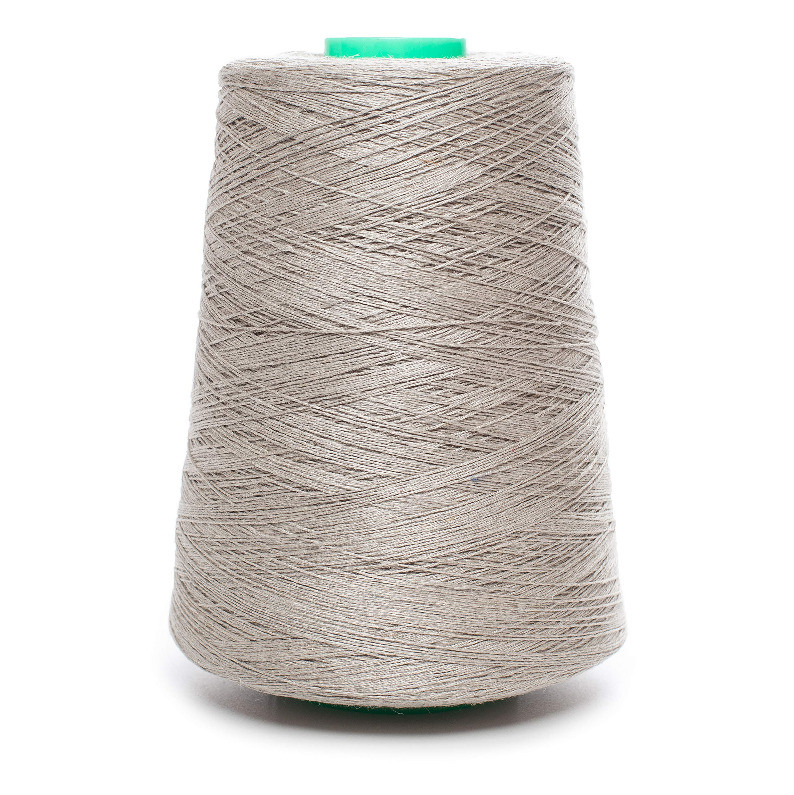 Linen Yarn Cone - 100% Flax Linen - 1 LBS - Natural Gray Yarn - 1-PLY, 2-PLY, 3 PLY, 4-PLY - Sewing Weaving Crochet Embroidering (1-PLY Yarn)