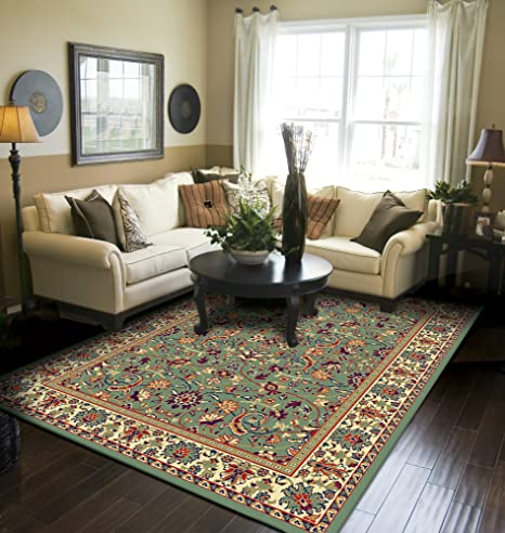 Traditional Area Rugs 5 by 7 Green Rugs for Living Room 5x7 ...