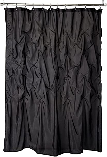 Madison Park Laurel Black Shower Curtain Solid Transitional Curtains For Bathroom 72 X
