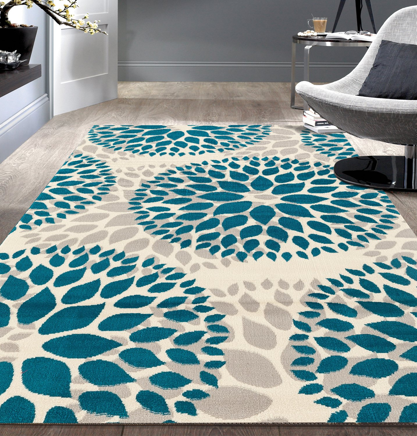 Modern Floral Circles Design Blue 9' x 12' Area Rug by Rugshop