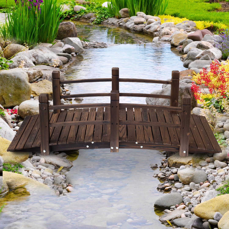 Kinsunny 5 ft Wooden Garden Bridge with Double Railings Stained Finish Footbridge Decorative Pond Bridge Outdoor Lawn Arc Walkway
