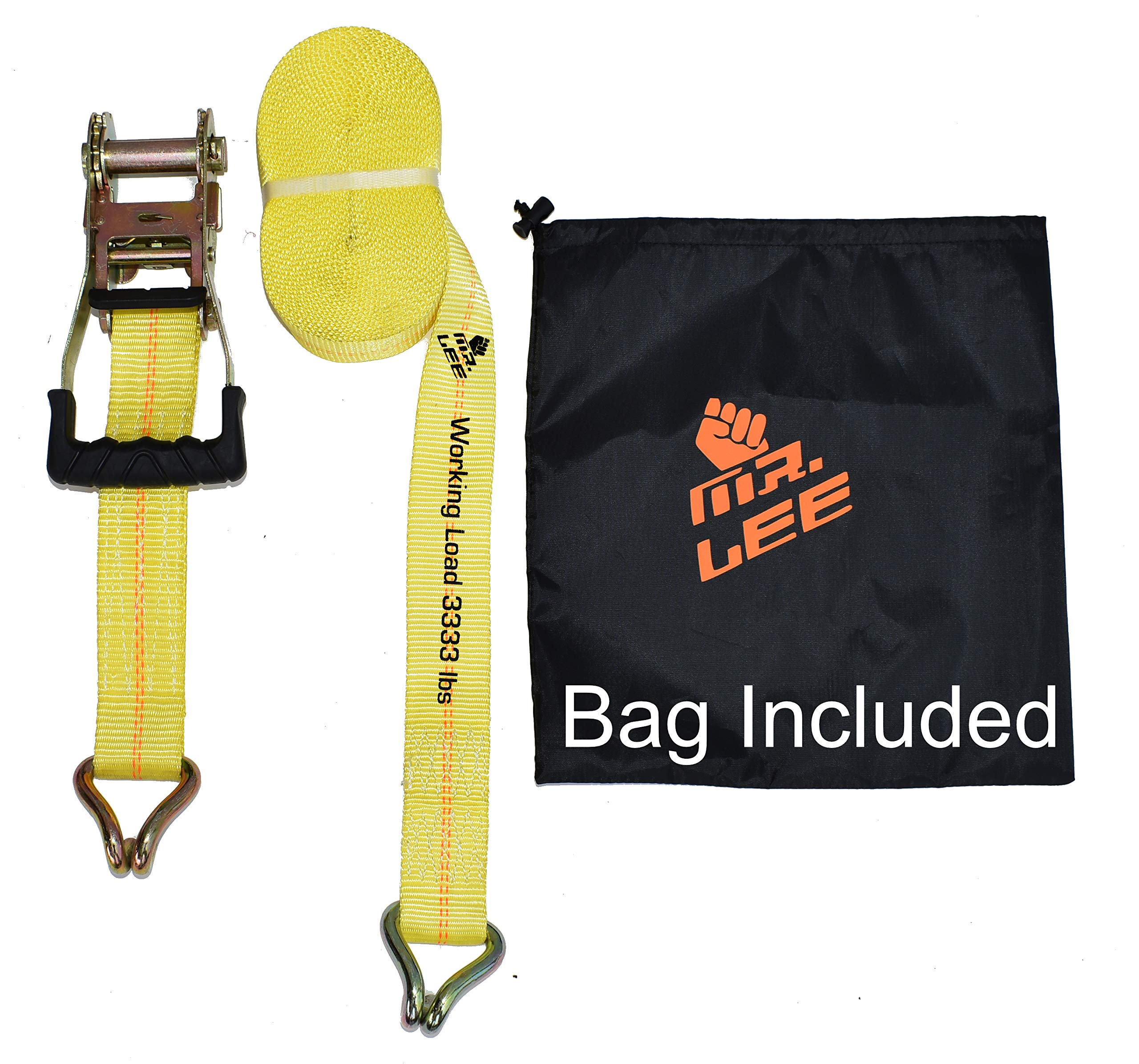 Mr. Lee WT-02012 Ratchet Tie Down Straps 27 X 2 Breaking Strength 10,000lbs, Double J Hooks 1PK, Trailer Tie Downs, Cargo Straps, Motorcycle Tie Downs, Truck Tie Downs, Car Tie Down Straps