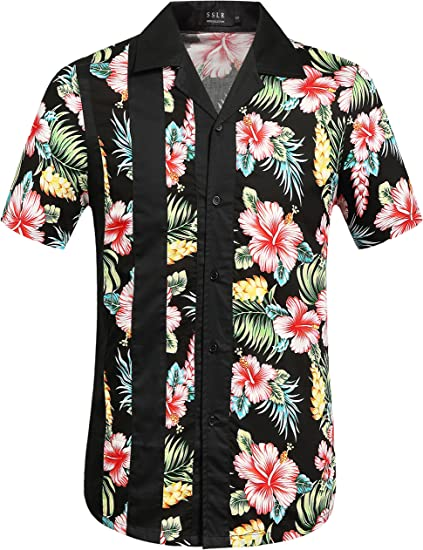 Jofemuho Mens Cotton Short Sleeve Casual Retro Button Up Shirt with Pocket