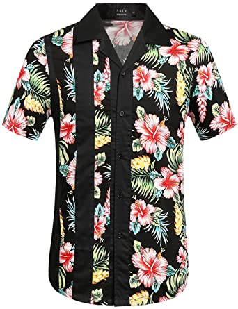 9bc9c6c42 SSLR Men's Flowers Casual Button Down Short Sleeve Hawaiian Shirt (Small,  Black)