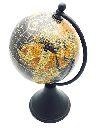Vintage Style Small Antique World Globe 10cm With Wooden Stand