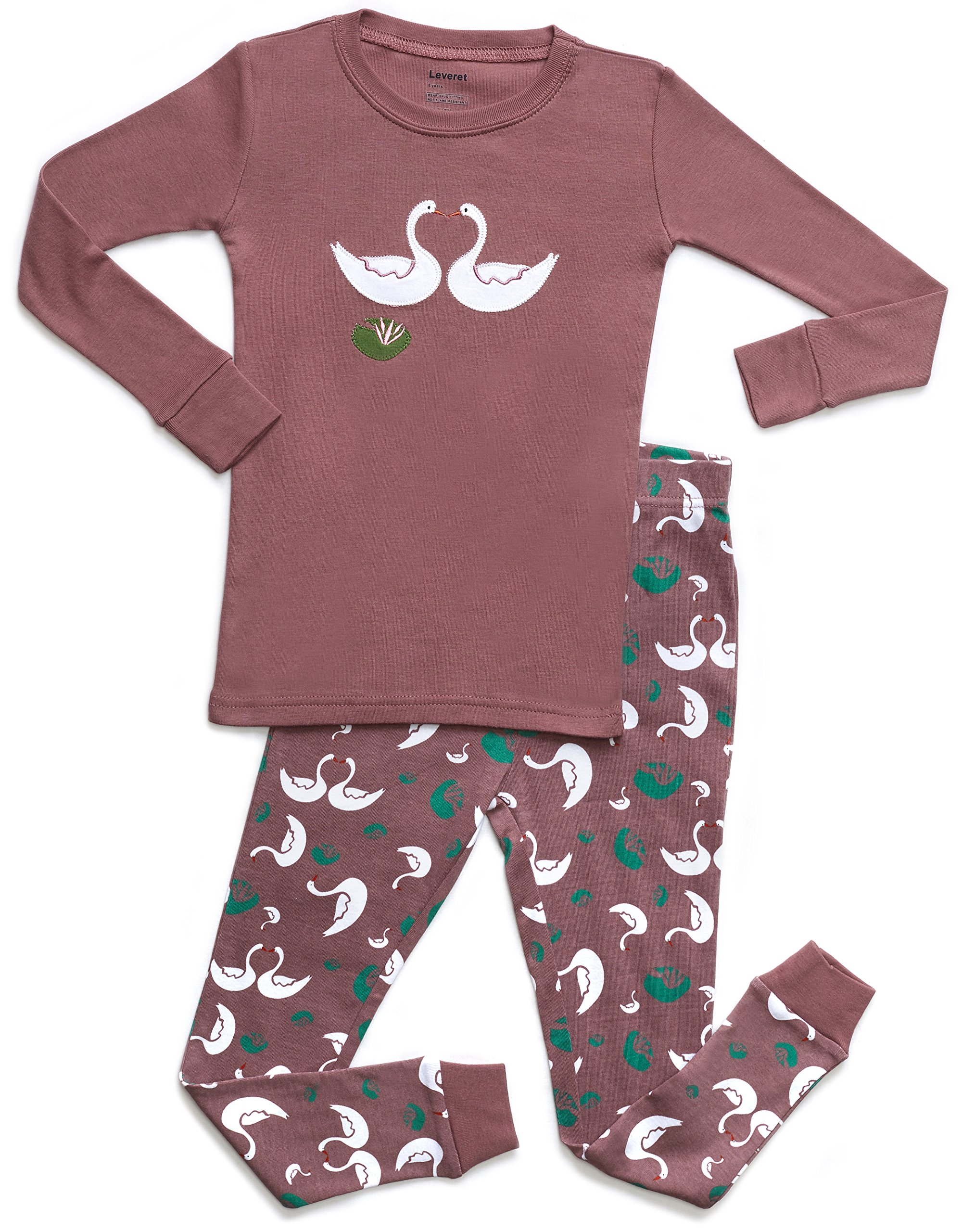 Leveret Organic Cotton Swan 2 Piece Pajama Set 8 Years by Leveret (Image #1)