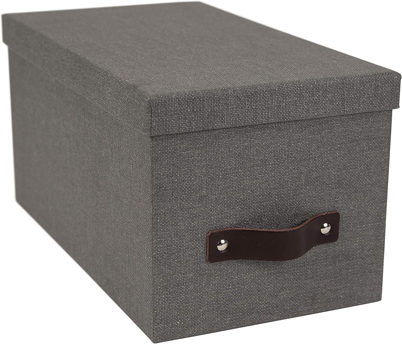 Bigso Silvia Canvas Fiberboard Organizational Storage Box Grey 5.9 x 6.5 x 11.6 in